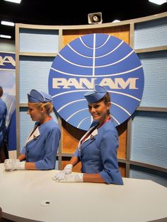 CAVEAT: This is an ABC Network promotional booth at the 2011 Comic-Con for its series PAN AM, not a genuine period image of airline staff. #aviationglamourstyle