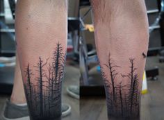 Chronic Ink Tattoo - Toronto Tattoo Silhouettes of trees done on the calf by Karen.