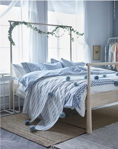 Tip: Create a calming bedroom with soft shades of blue and natural materials, like this GJÖRA bed frame. Ikea Bedroom, Bedroom Bed, Bedroom Decor, Bed Ikea, Master Bedroom, Bedroom Ideas, Wall Decor, Sinnerlig Ikea, Ikea Bed Frames
