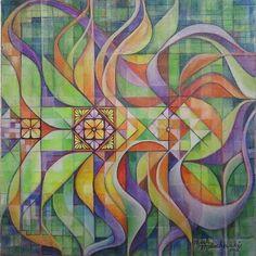 mixed media abstract pisanki (batik egg) design .watercolor, color pencils and ink