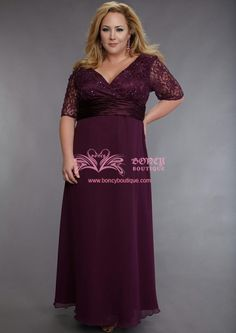 Chiffon V-neck A-line with Beading/Lace Plus Size Mother of the Bride Dress (WDS050036) $199.99