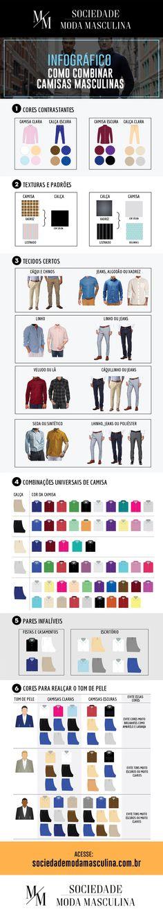 Infográfico  Como combinar camisas masculinas  4cd7c969b4727