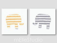 Yellow Grey Nursery Elephant Art Chevron Nursery by mElleStudio