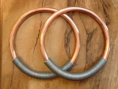 6g Solid Copper Hoops with Steel Coil Closure  by PeachTreats, I also really love these with colorful coils.
