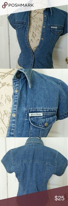 Vintage 80's Guess Jean Blouse Great condition no signs of wear vintage Guess jean blouse, size junior small Guess Tops Blouses