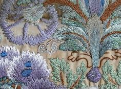 (Silk Museum Acc No. 2004.145) is a Leek Embroidery 'kit' showing a detail of William Morris' Indian Poppy design.- Detail.