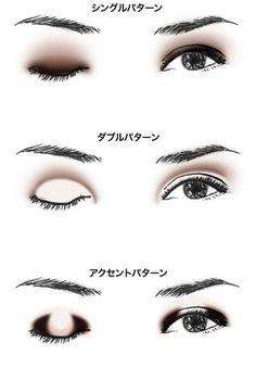 一般的にはグラデーションのシングルパターンが一般的ですが、同じ色で目の印象を変えたい時は他のパターンも試してみましょう。