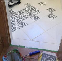 Stencil and Save! Upcycling Old Bathroom Floor Tiles with Stencils from Royal Design Studio