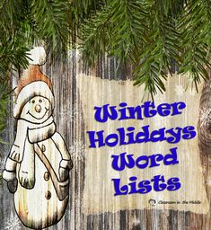 Winter Holidays Word Lists - Classroom in the Middle - Winter Holidays Word Lists Two useful word lists for the winter holiday season in middle school and upper elementary - a general list of Christmas words and a list of Christmas characters - Holiday Words, Christmas Words, Christmas Themes, Holiday Decorations, Vocabulary Activities, Fun Activities, Christmas Language Arts, Teaching Language Arts, Teaching English