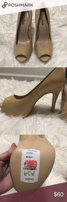Neiman marcus peep toe heels Worn once for a photo shoot. Neiman Marcus Shoes Heels