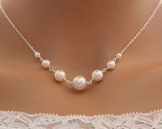 Pearl necklace  Bridal wedding jewelry elegant simple by untie, $29.00