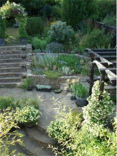 NGS - New Hertfordshire Garden Offers Design Inspiration with step features in the garden Garden Paths, Garden Bridge, Garden Landscaping, Garden Retaining Wall, Sloped Garden, Garden Levels, Elements Of Design, Yard Design, Dream Garden