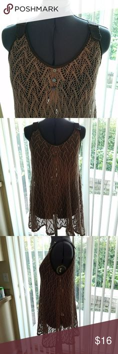 🎈Double Zero crocheted tank Double Zero brown crocheted top with faux leather accents. Size small but can fit medium. Displayed on medium dress form. Double Zero Tops Tank Tops