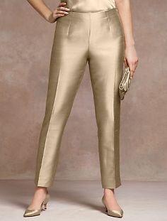 Signature Fit Doupioni Ankle Pant (I want these gold pants. Salwar Designs, Kurta Designs Women, Kurti Designs Party Wear, Blouse Designs, Formal Pants Women, Pants For Women, Clothes For Women, Salwar Pants, Patiala Dress
