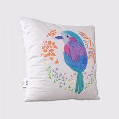 Blue bird sofa cushions for sale hand-drawn style cheap white pillows