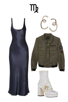 Shop the look: Gucci Soko Glitter Platform Boots, $1,450, barneys.com; Sanctuary Camp Eisenhower Bomber Jacket, $159, sanctuaryclothing.com; Protagonist Satin Midi Dress, $540, net-a-porter.com; Adornmonde Earrings, $82,adornmonde.com