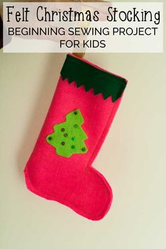 Start your kids sewing this Christmas with this simple Felt Christmas Stocking and ideal project for them and you to learn to make together Frugal Christmas, Christmas Crafts For Kids, Handmade Christmas, Holiday Crafts, Christmas Ideas, Felt Christmas Stockings, Felt Stocking, Love Sewing, Sewing For Kids