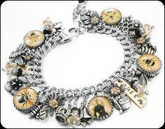 Silver Charm Bracelet Bee Bracelet Queen by BlackberryDesigns