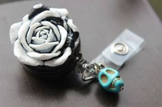 Rose and Sugar Skull Badge Holder Retractable by VivaGailBeads