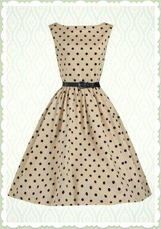 35d283d5626ab9 Lindy Bop 50er Jahre Rockabilly Petticoat Punkte Kleid - Audrey - Beige  Rockabilly Kleider