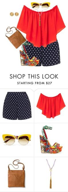 plus size summer chic in shorts by kristie-payne on Polyvore featuring MANGO, Zizzi, Dolce&Gabbana, Merona, Versace and Henri Bendel