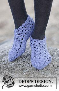 Ganchillo: Cómo laborar una pantufla a partir de la punta, en dirección al talón, a la pierna ~ DROPS Design