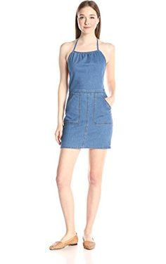 MINKPINK Women's Lucky You Halter Apron Dress, Denim Blue, X-Small ❤ MinkPink Women's Collection