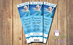 Elsa Frozen Disney Event Ticket Birthday by AndreasPartyDesigns, $6.99