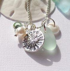 Seafoam Seaglass Sand Dollar Beach Necklace by GardenLeafSeaside, $22.00