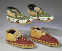 Two Pair of Sioux Beaded Hide Moccasins,