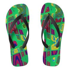 Colorful Green Abstract Design Flip Flops #zazzle #fashion #style #trends