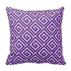 Purple Decorative Throw Pillows | Pretty Throw Pillows | Purple Greek Key Pattern Decorative Throw Pillow #purplethrowpillows