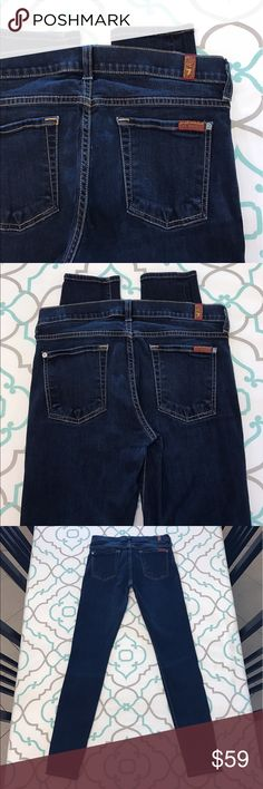 "Beautiful 7FAM Skinny Jeans28 5/7 29.5"" Beautiful 7 For All Mankind Jeans  Skinnies!!! Size 28 (5/6). But 7FAM Run Small So Listed as a 27 (3/4). Please See & Compare Measurements with your own pants that fit. ; ) 29.5"" Inseam. 8.25"" Rise. 14"" Across Back. Awesome Stretch. Dark Blue Wash. The Skinny Fit. Slight over stretching near crotch. Excellent Used Condition. 7 FAM! Anthropologie! Ask me any questions! : ) 7 For All Mankind Jeans Skinny"