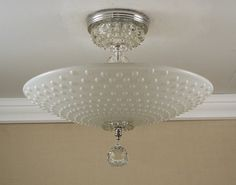 Vintage 1940-50's Hobnail Dot Glass & Chrome Semi Flush Ceiling Light Fixture Rewired.