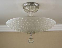 Vintage 1940-50's Hobnail Dot Glass & Chrome Semi Flush Ceiling Light Fixture Rewired.