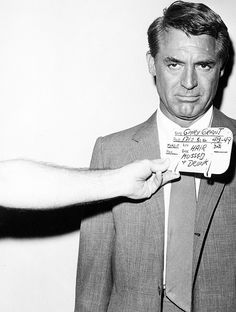 """"""" Cary Grant's hair and makeup test for North by Northwest (1959). The card reads """"HAIR MUSSED + DRUNK"""" """""""