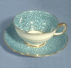 Royal Albert Unnamed pattern light turquoise aqua gold and white tea cup Vintage Crockery, Antique Tea Cups, Vintage Cups, Vintage Tea, Royal Albert, Teapots And Cups, Teacups, White Tea Cups, Cafetiere