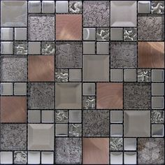 Kaos Silver Random Square Pattern Glass, Metal and Marble Mosaic Tile #random_square_mosaic_tile #glass_metal_marble_tile
