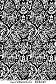 Black White Floral Wallpaper On Black Stock Vector (Royalty Free) 302933021 Indian Patterns, Textile Patterns, Textile Design, Print Patterns, Textiles, Pattern Art, Pattern Design, Saree Painting Designs, Tumblr Pattern