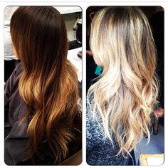 Before and After: From brunette to blonde, no base, just highlights.