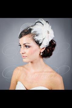 Custom Fleur fascinator & Wedge veil