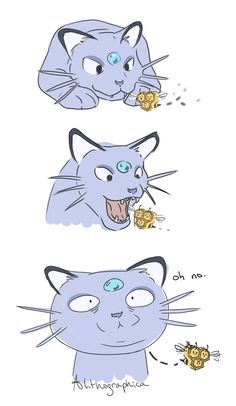 """alithographicaart: """" Someone mentioned that Alola Persian looks like it ate a bee """" Pokemon Comics, Pokemon Memes, Pokemon Funny, All Pokemon, Pokemon Fan Art, Pokemon Fusion, Pokemon Stuff, Pokemon Chart, Pikachu"""