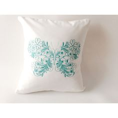 Butterfly Pillow, Embroidered Pillow, Butterfly Accent, Green... ($25) ❤ liked on Polyvore featuring home, home decor and throw pillows