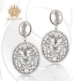 ISHTAR Earrings in White with Black Rhodium - Stunning by Angelique de Paris