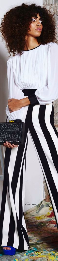 Visit the post for more. Stripes Fashion, White Fashion, Colorful Fashion, Yin Yang, Alice Olivia, Winter Typ, Black White Red, Models, Elegant Outfit