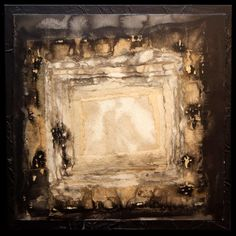 "Raw Exposure 12"" x 12"" mixed media painting on wood panel Amber Maida #art #painting #mixedmedia #antique #bookpages #creme #black #burned #coffee #fluid 2013"