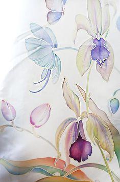 Hand Painted Wedding Dress Orchids and Hummingbirds Custom Hand Painted Dress, Hand Painted Shoes, Painted Clothes, Painted Silk, Batik Art, Batik Prints, Relaxed Wedding Dress, Orchid Images, Silk Art
