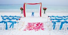pink and turquoise beach wedding