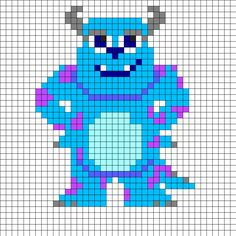 Sulley - Monsters, Inc. Perler Bead Pattern                                                                                                                                                     More