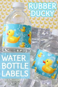Check out these rubber duckie baby shower water bottle labels, designed to match your bubble bath supplies, and easy to peel and stick for fast duck favors. #RubberDucky #duckybabyshower Ducky Baby Showers, Rubber Ducky Baby Shower, Bath Water, Water Bottle Labels, Bubble Bath, Birthday Party Favors, Baby Shower Decorations, New Baby Products, Bubbles